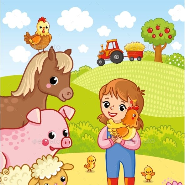 Girl Farmer Holding a Chicken in His Hands Vector