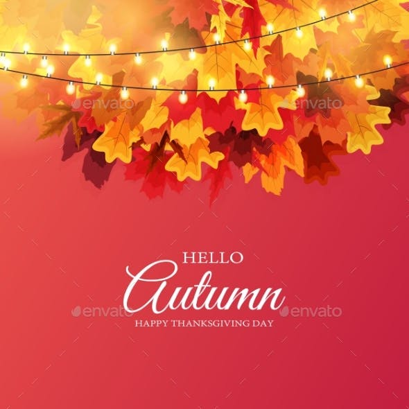 Shiny Autumn Leaves Banner Background