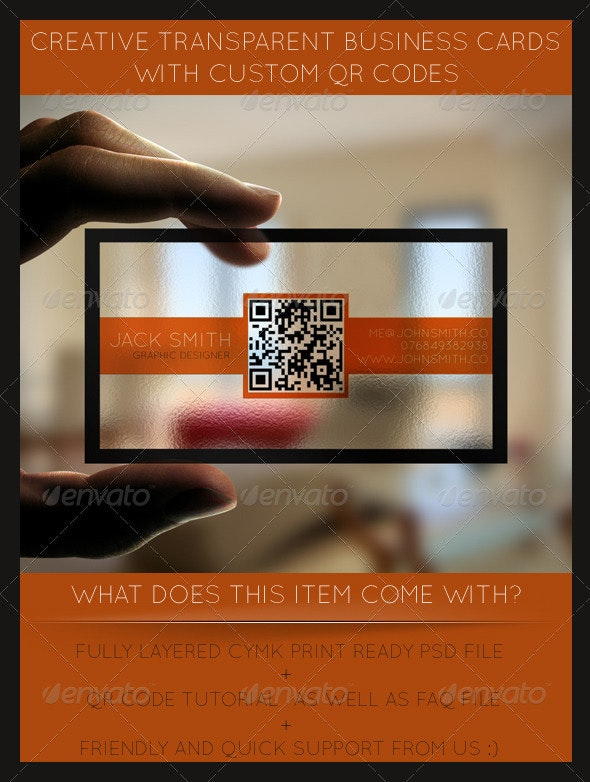 Creative Transparent Business Cards With QR Code - Creative Business Cards