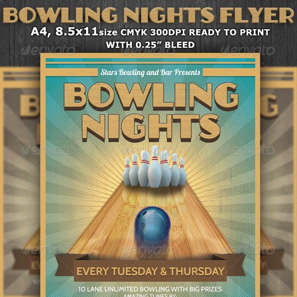 Bowling Nights Party Flyer Template