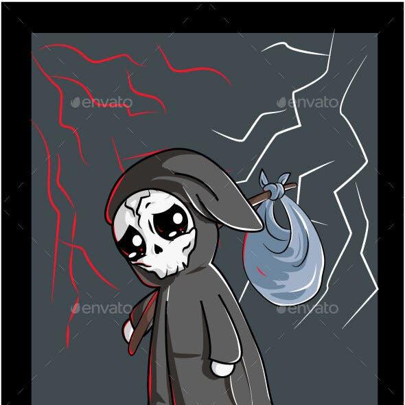 Skull Sad Under The Night Sky with Thunder Wearing Black Cloak