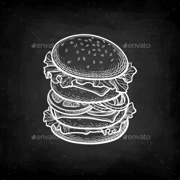 Chalk Sketch of Hamburger.