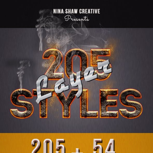 205 Photoshop Layer Styles Bundle