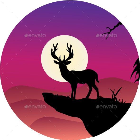 Deer Silhouette in Jungle