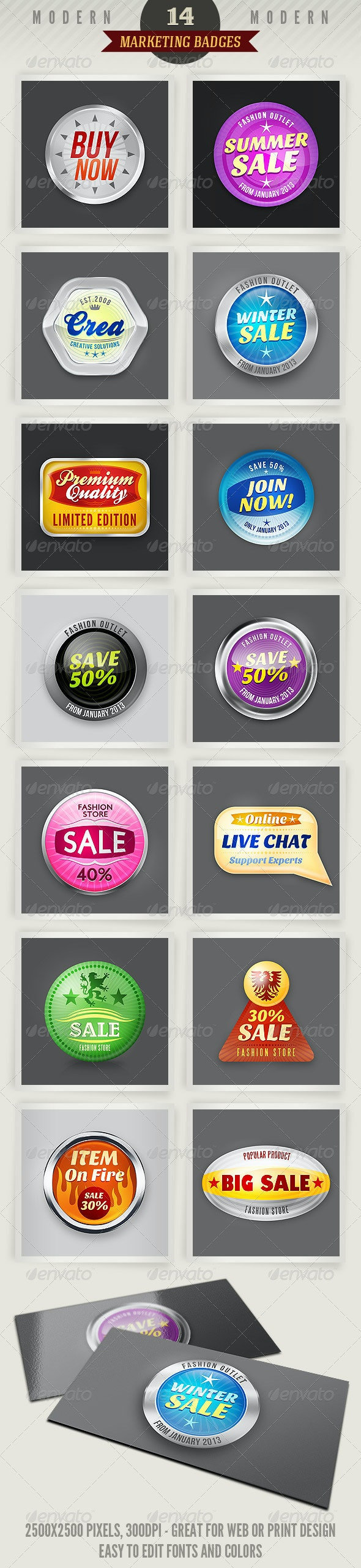 14 Modern Marketing Badges - Badges & Stickers Web Elements