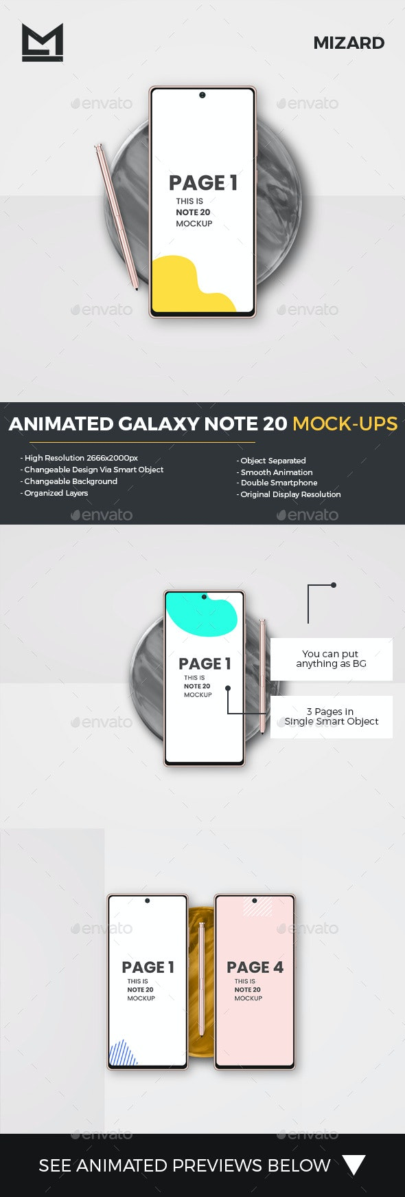 Animated Galaxy Note 20 Mockup - Mobile Displays
