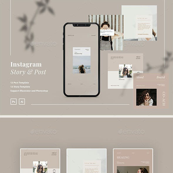 Minimalist Coach Instagram Ads Post and Story Template