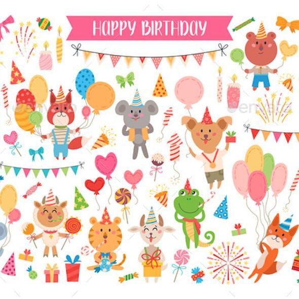 Animal Birthday Set for Kids Party Design