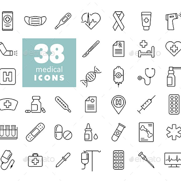 38 Medicine and healthcare, medical support icons