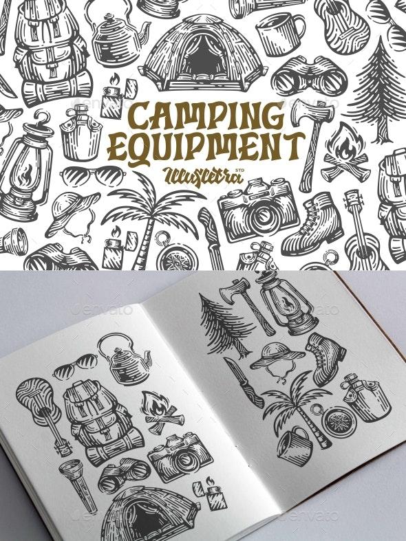 Camping Equipment Illustration - Sports/Activity Conceptual