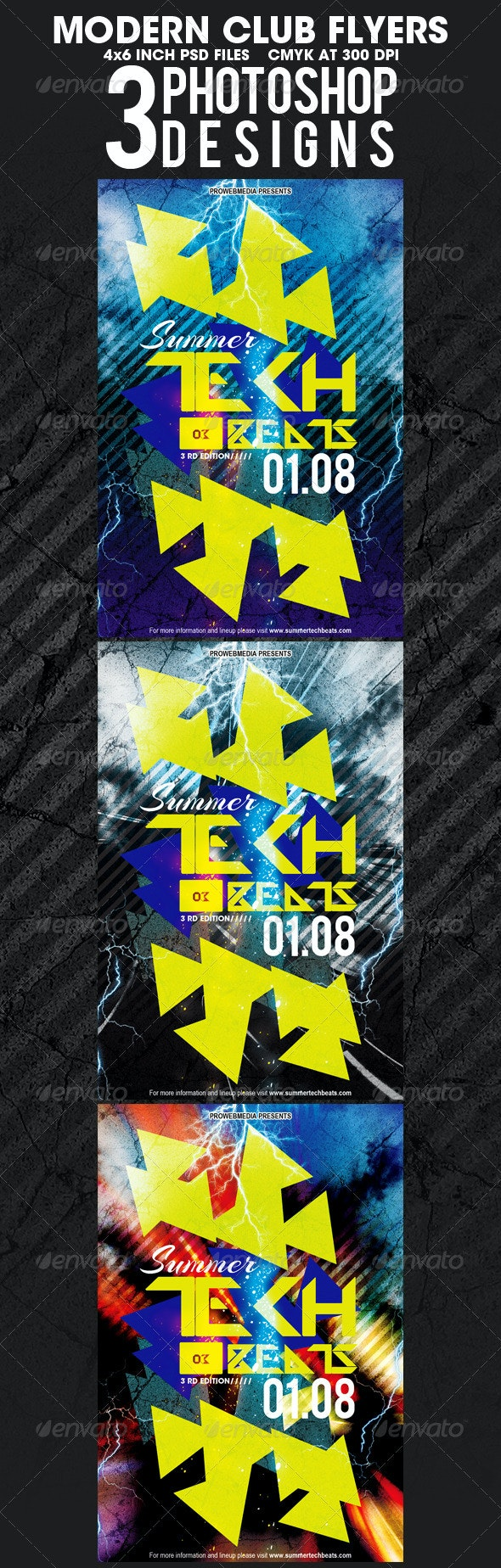 3 Modern Club Flyer Templates - Clubs & Parties Events