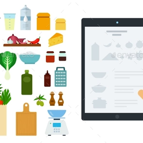 Vector Image of a Tablet with an Online Recipe