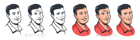 Smiling Man Face Set in Vintage Style - People Characters