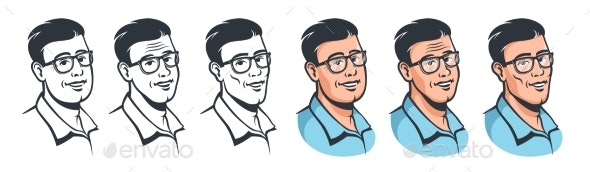 Man with Glasses Face Set in Retro Style - People Characters