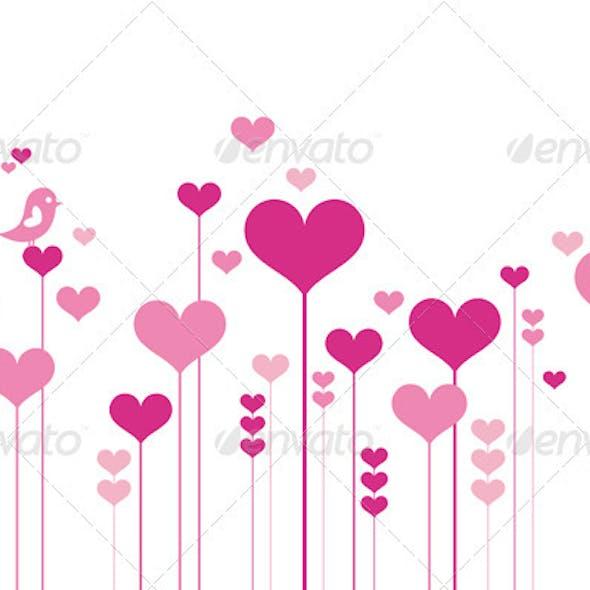 Heart Flowers, Vector Background