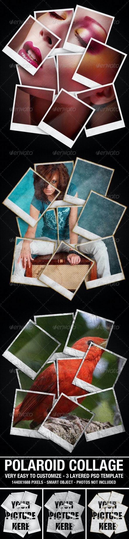 Polaroid Collage Photo Template - Photo Templates Graphics