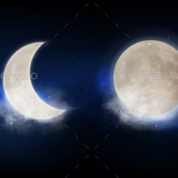 Full Moon and New Moon Crescent