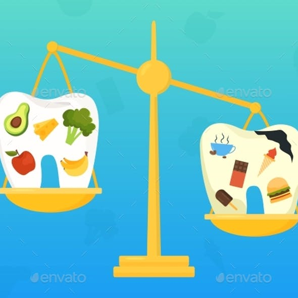 Dental Health Concept with Good and Bad Food