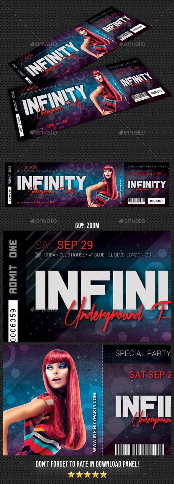 Infinity Underground Party Event Ticket - Cards & Invites Print Templates