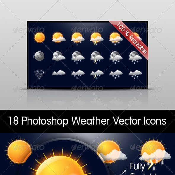Weather Set - 18 Photoshop Vector Resizable Icons