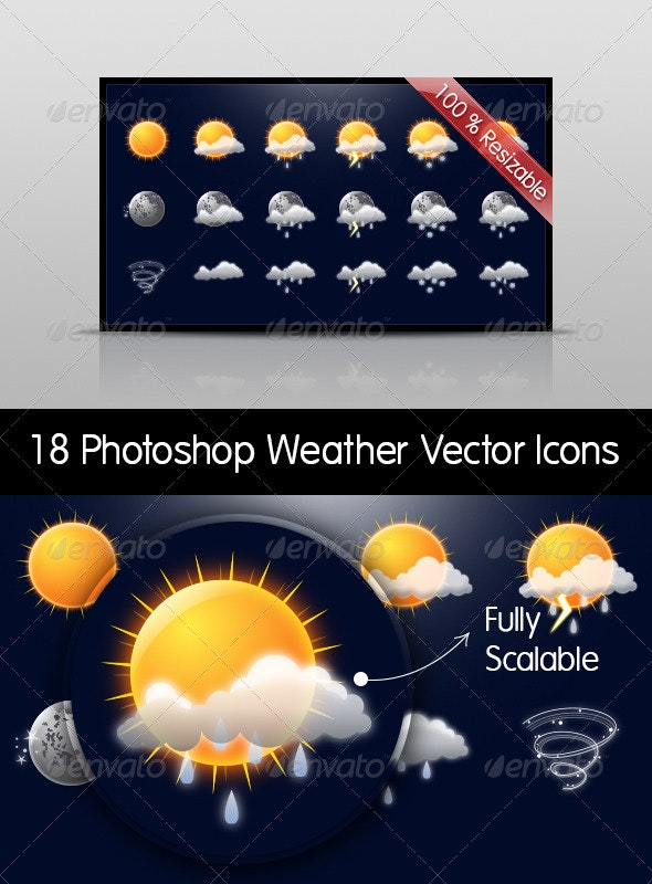 Weather Set - 18 Photoshop Vector Resizable Icons - Seasonal Icons