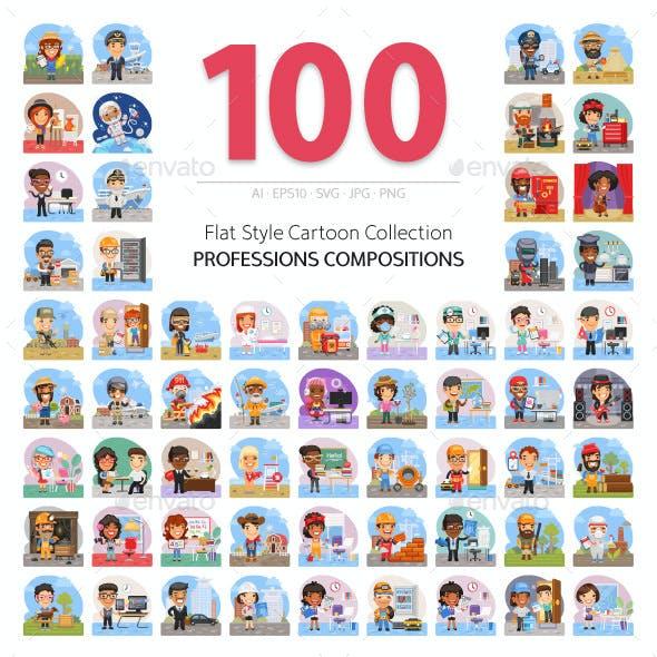 100 Professions Flat Illustrations