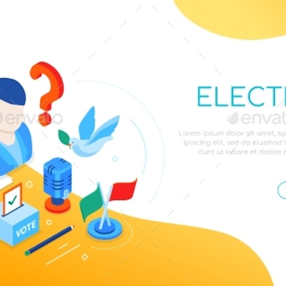 Election and Voting - Modern Colorful Isometric
