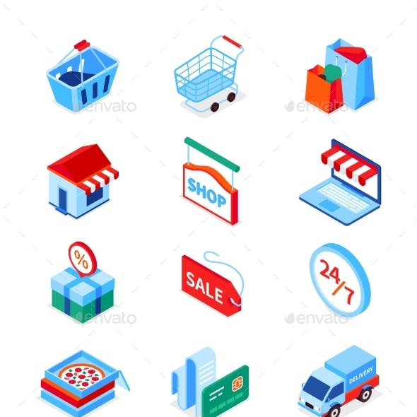 Online Shopping and Delivery - Modern Isometric