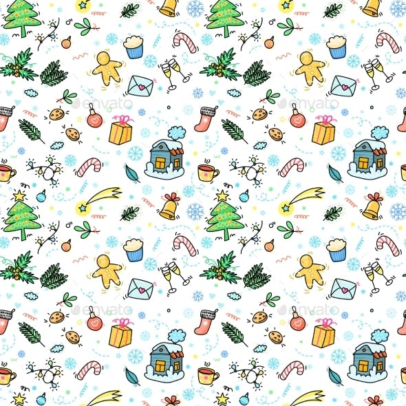 Christmas and New Year Hand Drawn Seamless Pattern