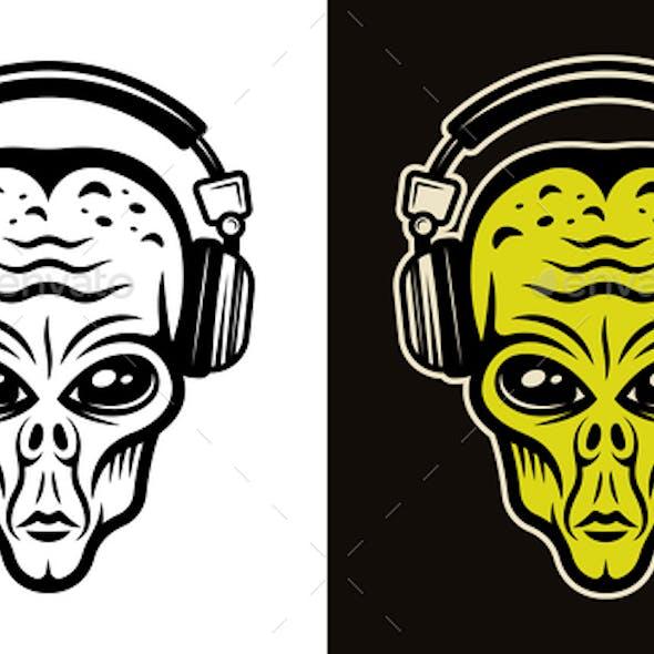 Alien Head in Headphones