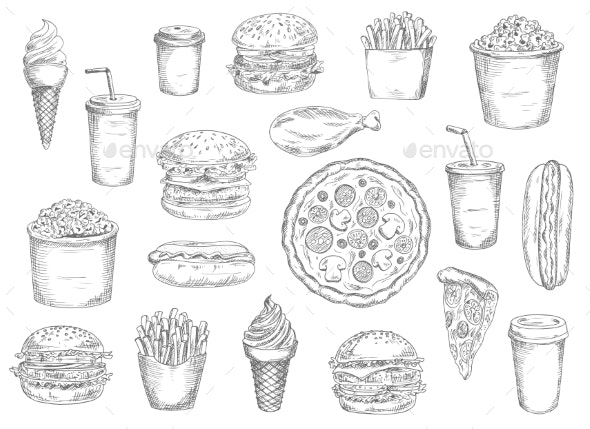 Sketch Fast Food Meals Isolated Vector Icons - Food Objects