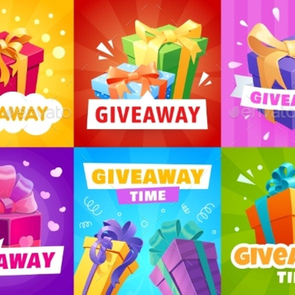 Giveaway , Vector Gift Boxes and Presents Posters