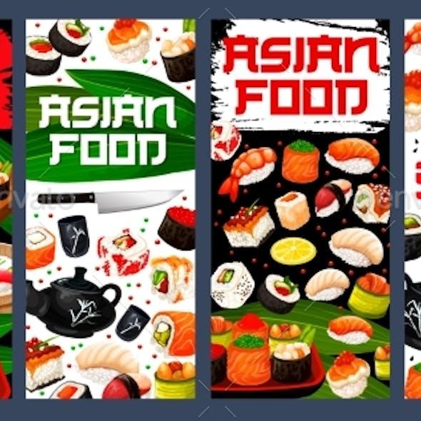 Sushi Bar Asian Food Banners