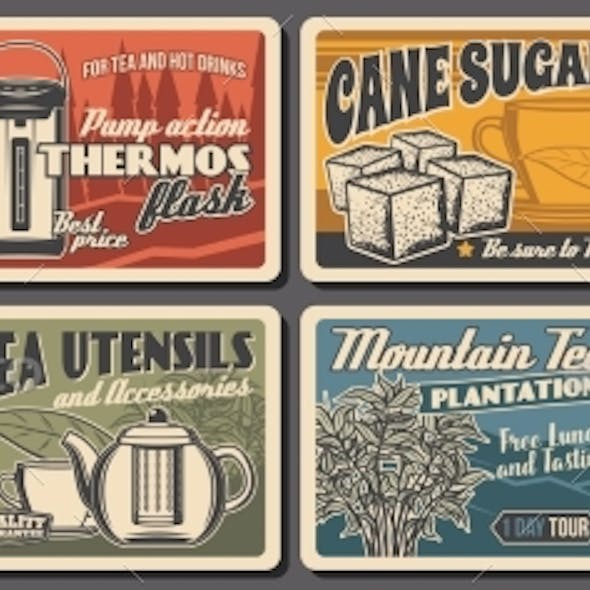 Hot Tea Drink Retro Posters