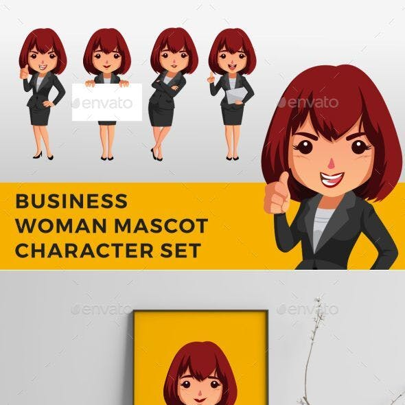 Business Woman Character Mascot Set