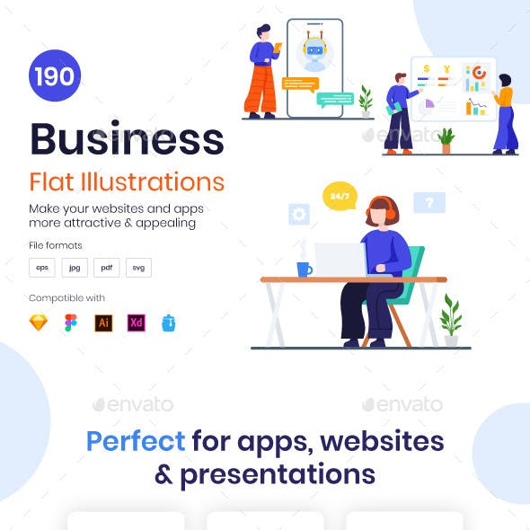 190 Flat Business Illustrations