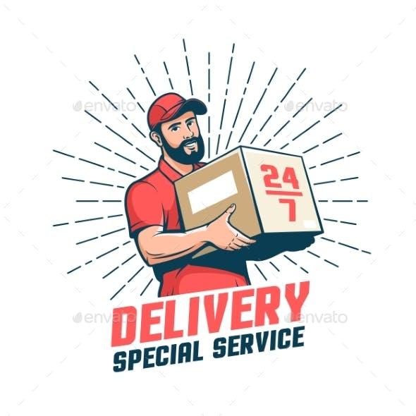 Delivery Man Retro Emblem