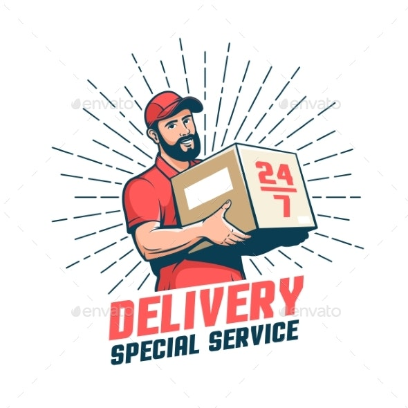 Delivery Man Retro Emblem - Services Commercial / Shopping