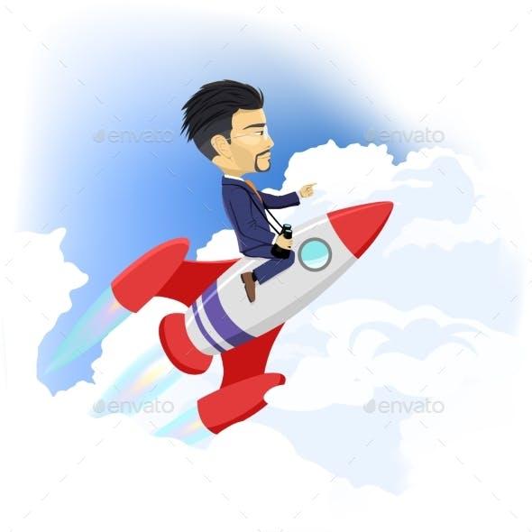 Businessman Up Flying on Space Rocket