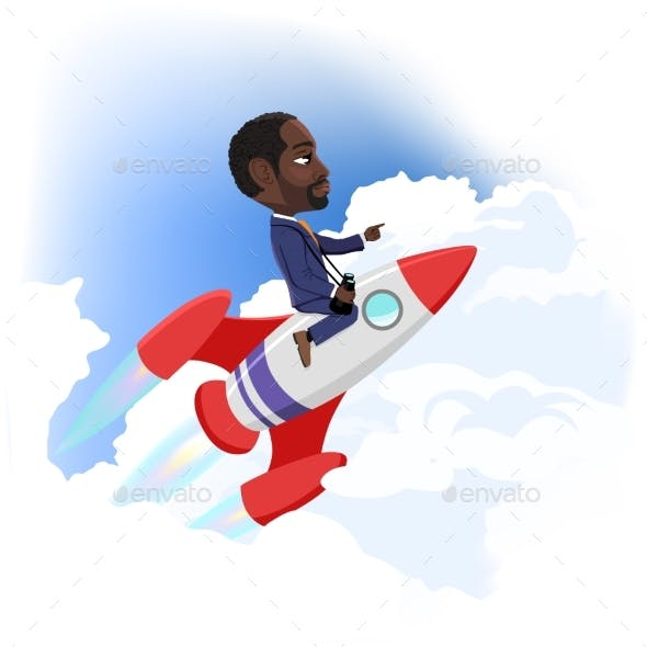 Businessman Flying Up on Space Rocket