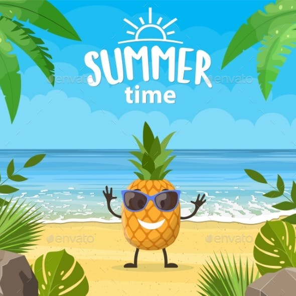 Summer Banner with Fruit Character
