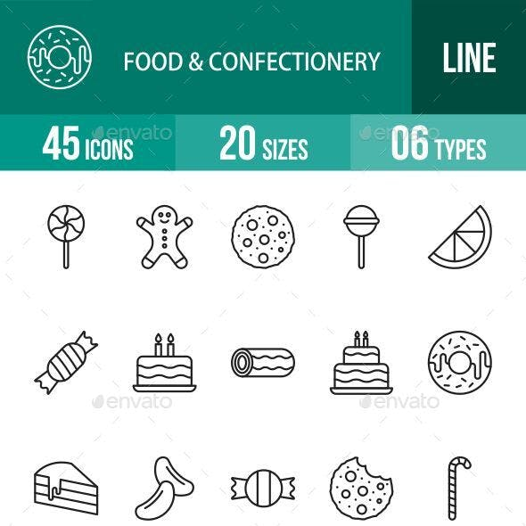 Food, Drinks & Confectionery Line Icons