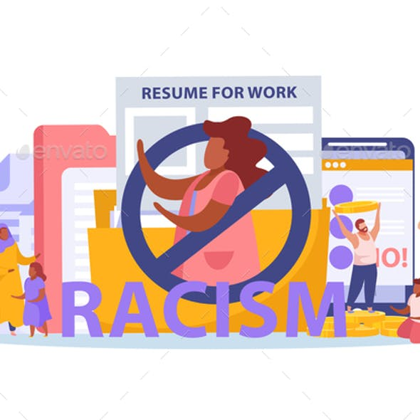 Racism  Discrimination Flat Composition