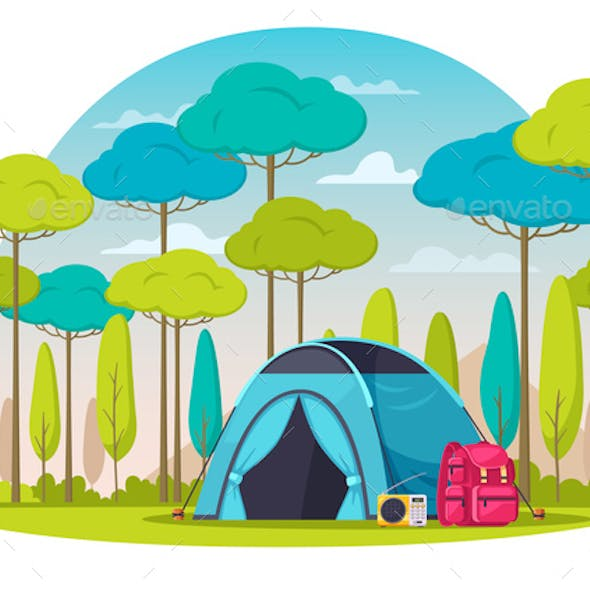 Camping Place Cartoon Composition
