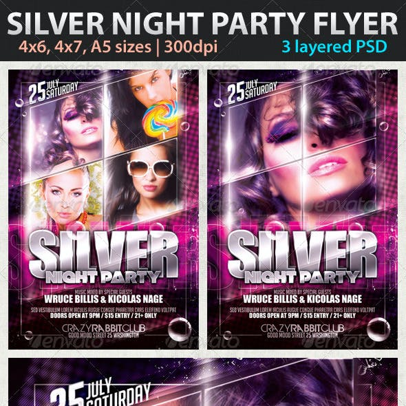 Silver Night Party Flyer