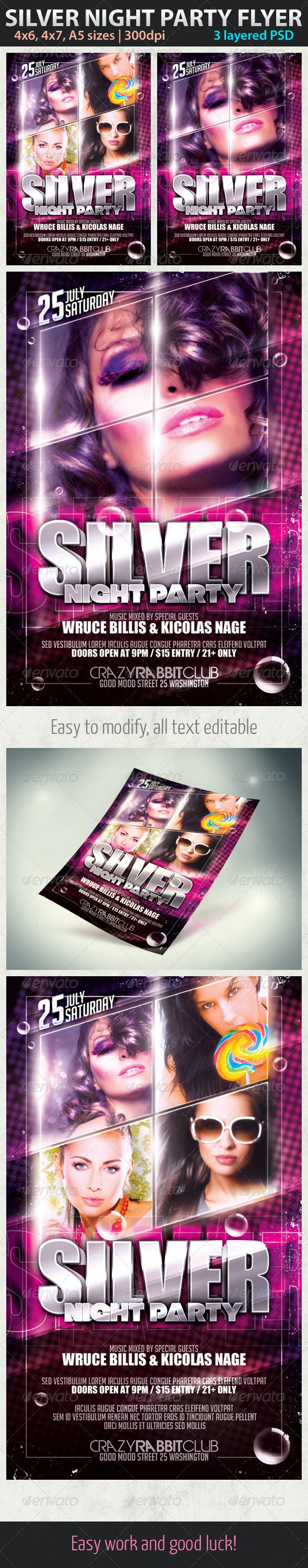 Silver Night Party Flyer - Clubs & Parties Events