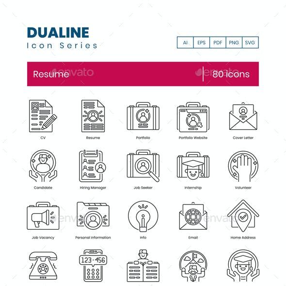 "80 Resume Icons - Dualine Series ""On Sale!"" - 2$ off price"