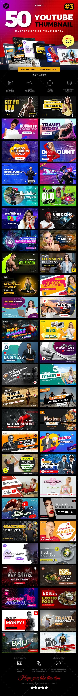 50 Youtube Thumbnail - Social Media Web Elements