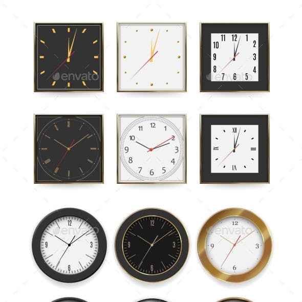 Round and Square Wall Clock Dial Timer Collection
