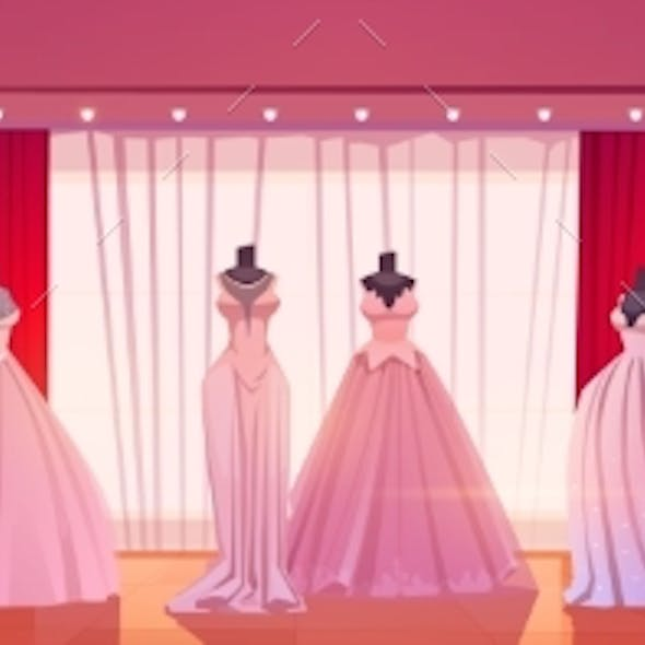 Bridal Shop Interior Wedding Dresses on Mannequins